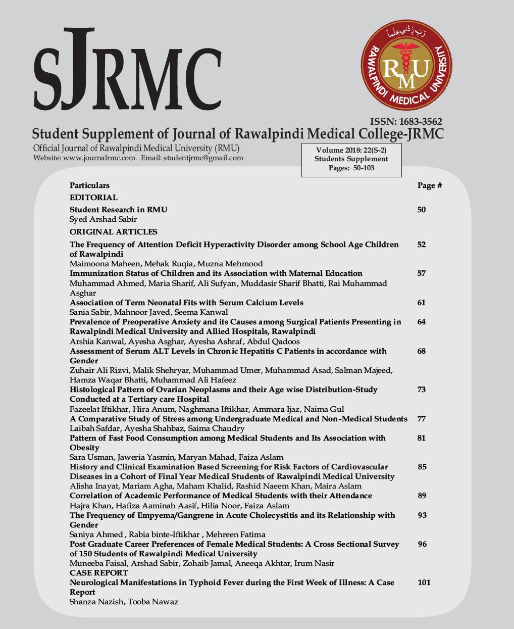 Vol 22 No S-2 (2018): Students Supplement | Journal of Rawalpindi